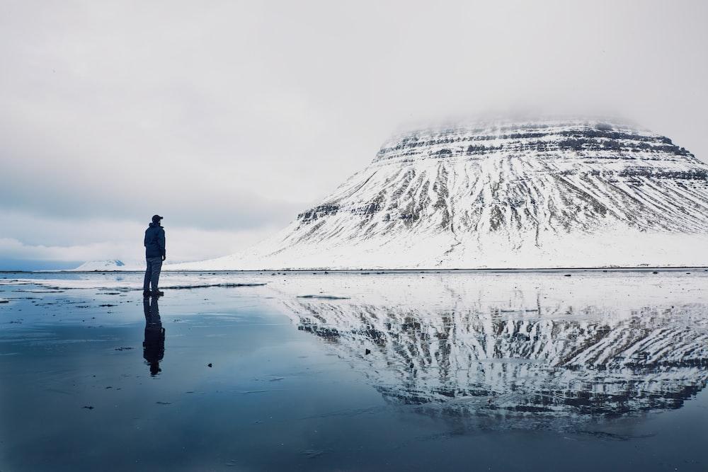 person near mountain