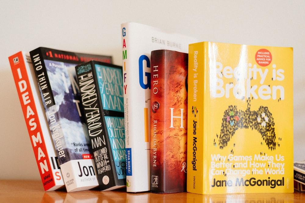 closeup photo of six novel books