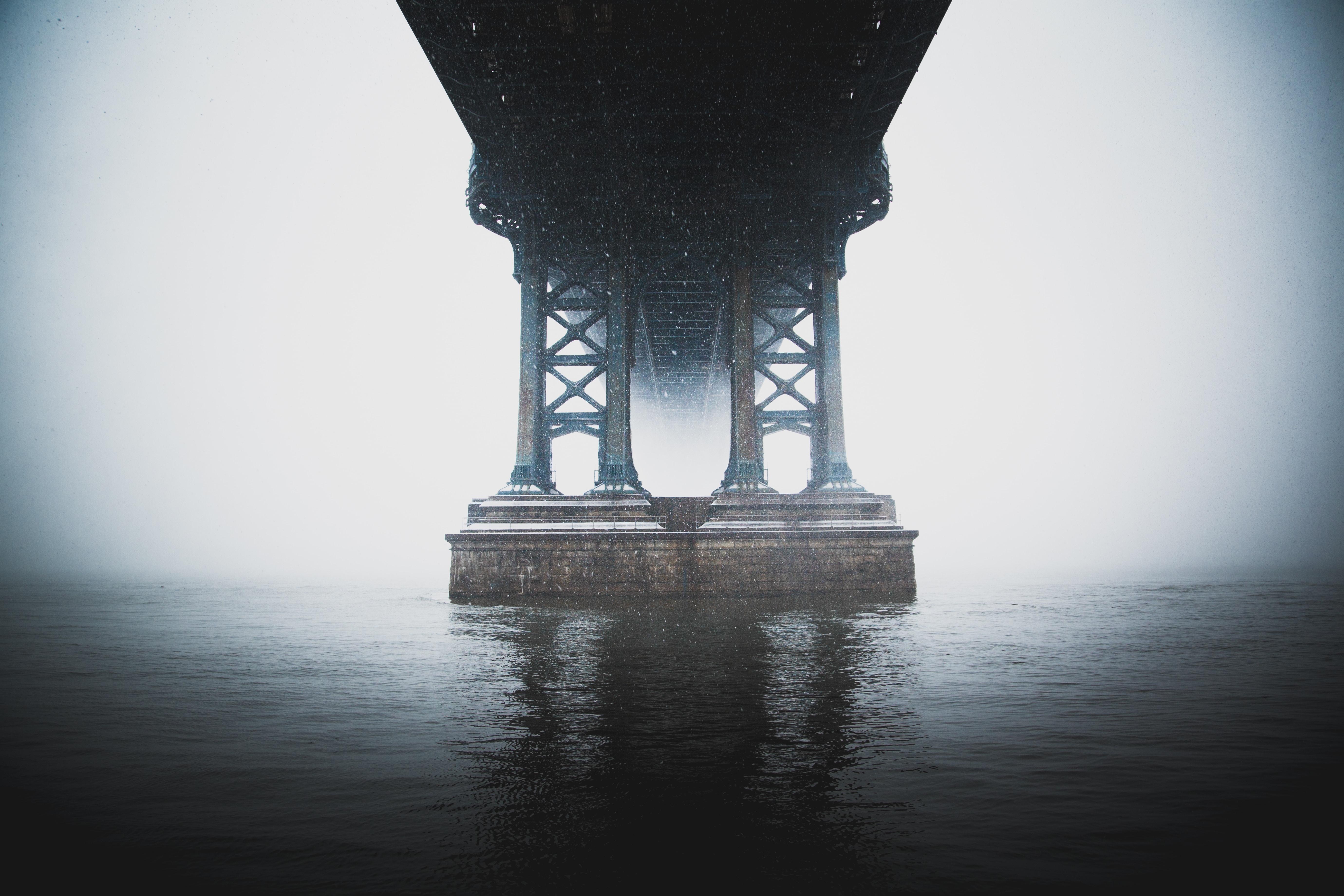 landscape photo of bridge foundation