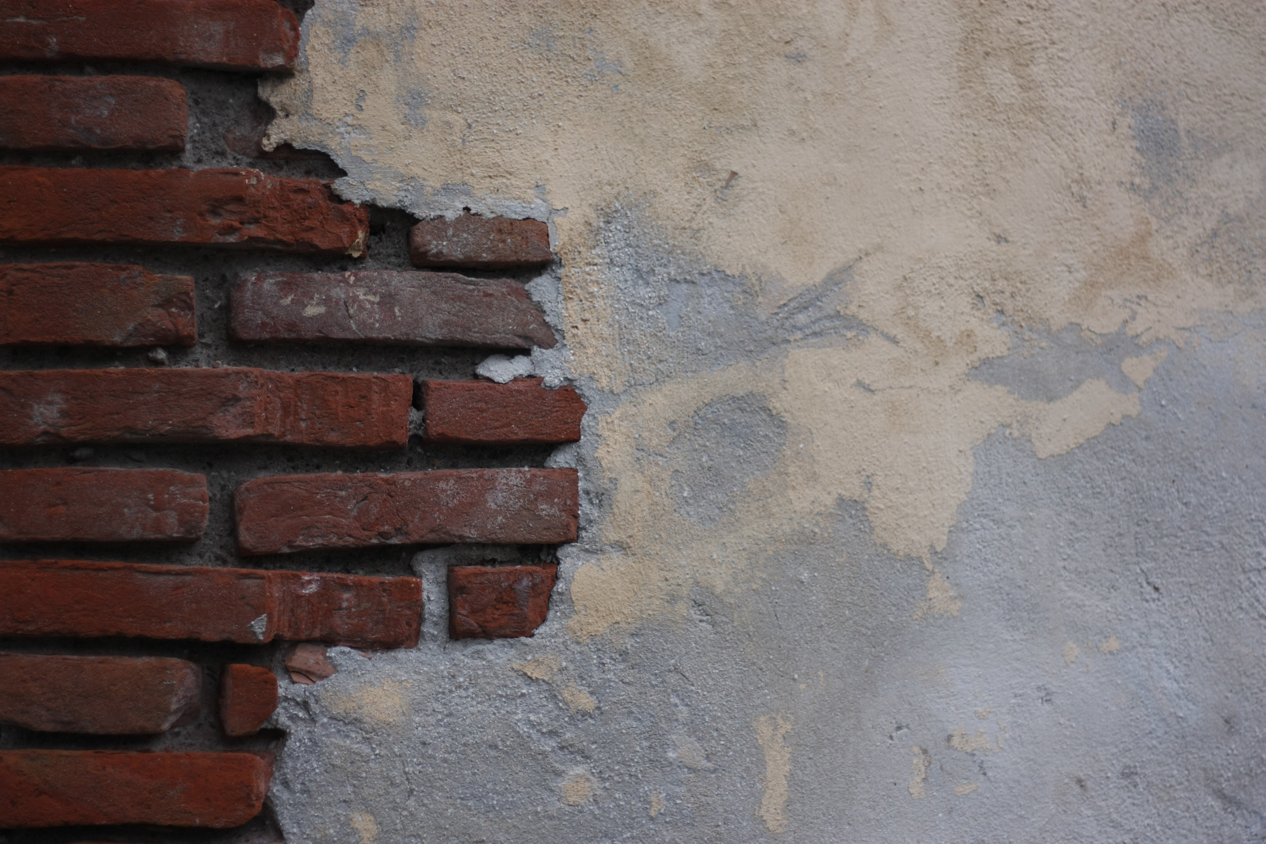brown brick and blue wall paint