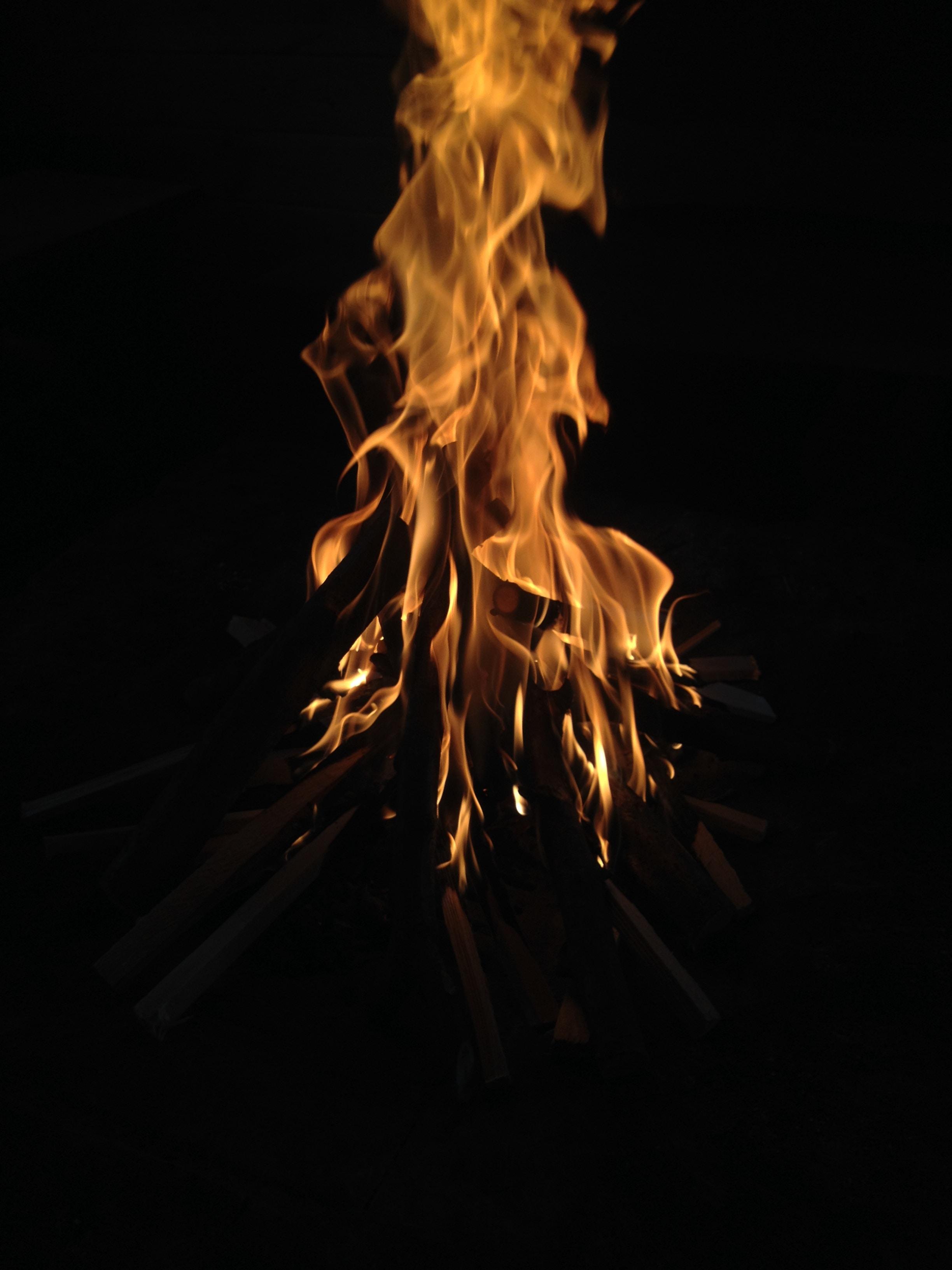 bonfire in dark place