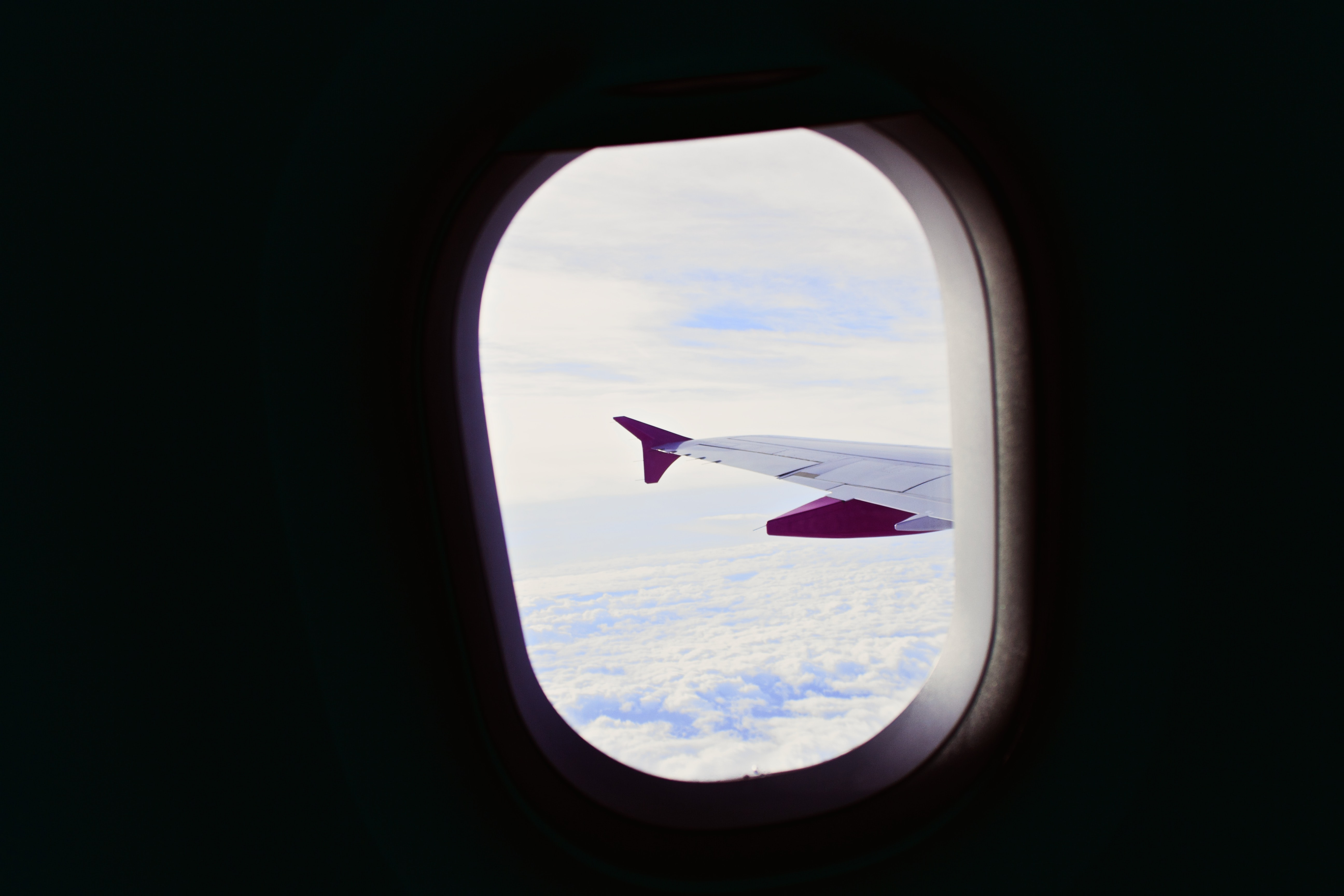 airliner wing through window