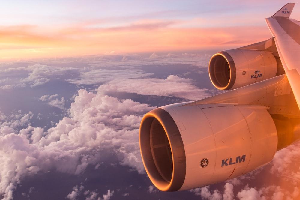 white air plane wing