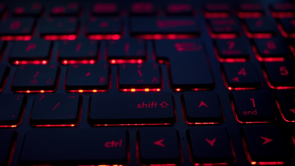 closeup photo of black and red keyboard