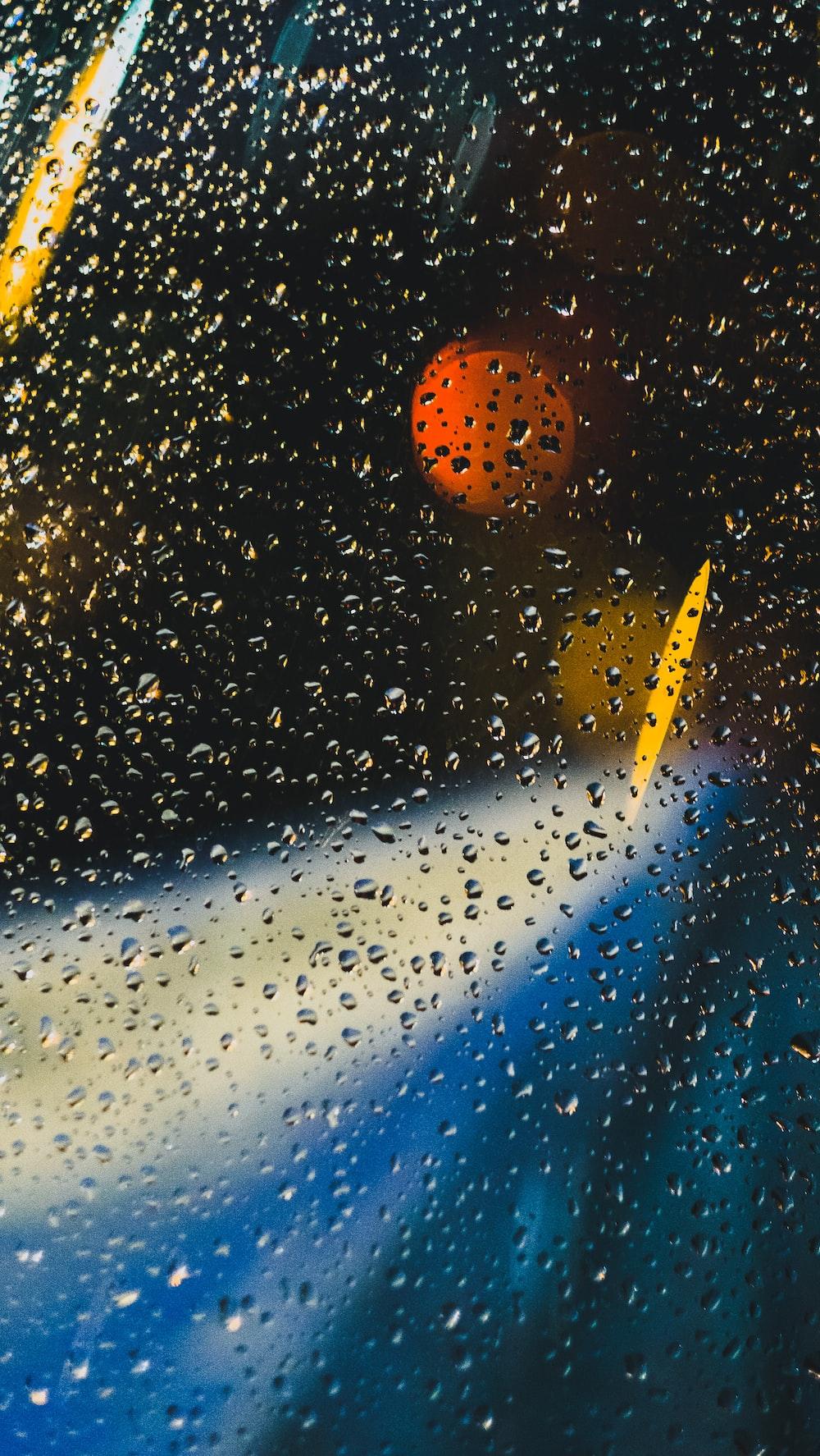 closeup photo of water dew on window