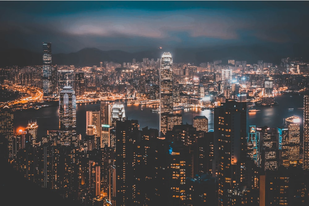 top view photo of buildings during night time