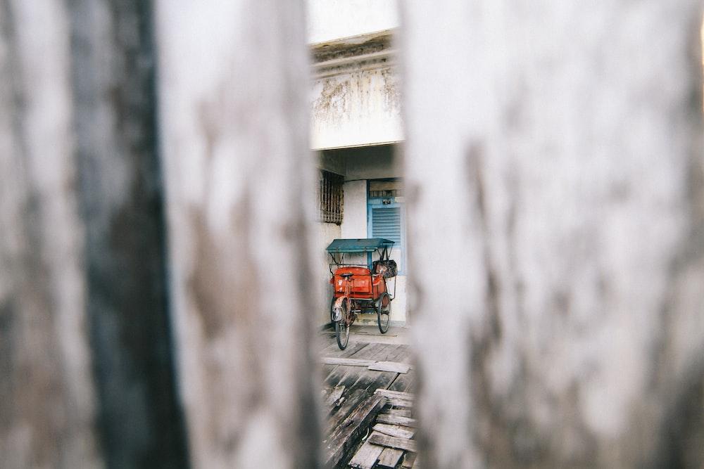 photo of red rickshaw