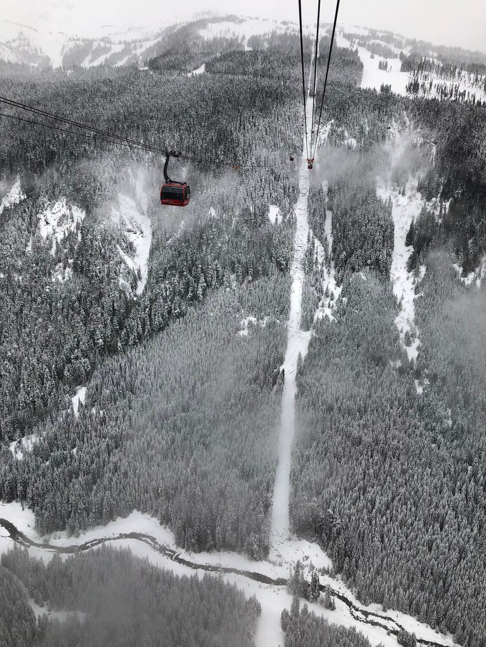 black zip line in aerial view photography