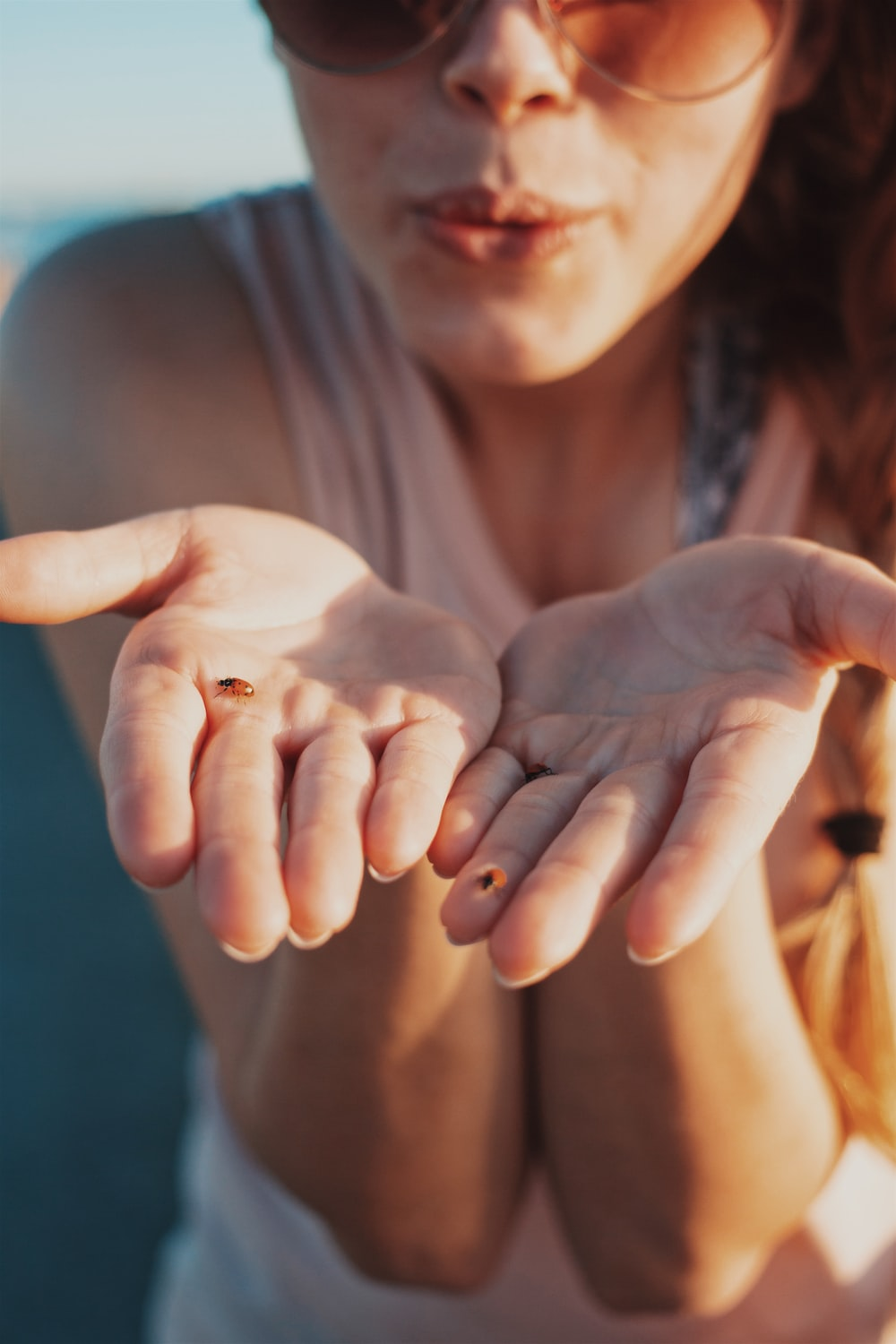 woman with brown bug on hands blowing