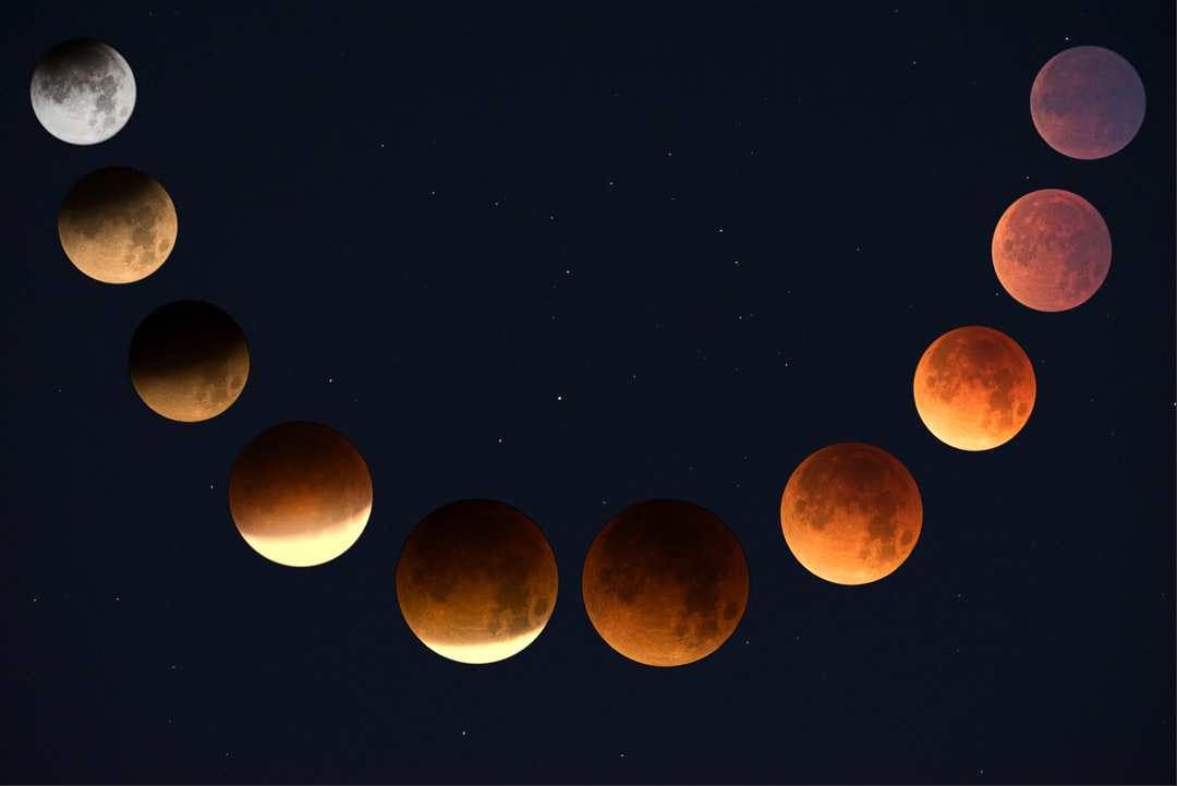 multiple-exposure photograph of lunar eclipse