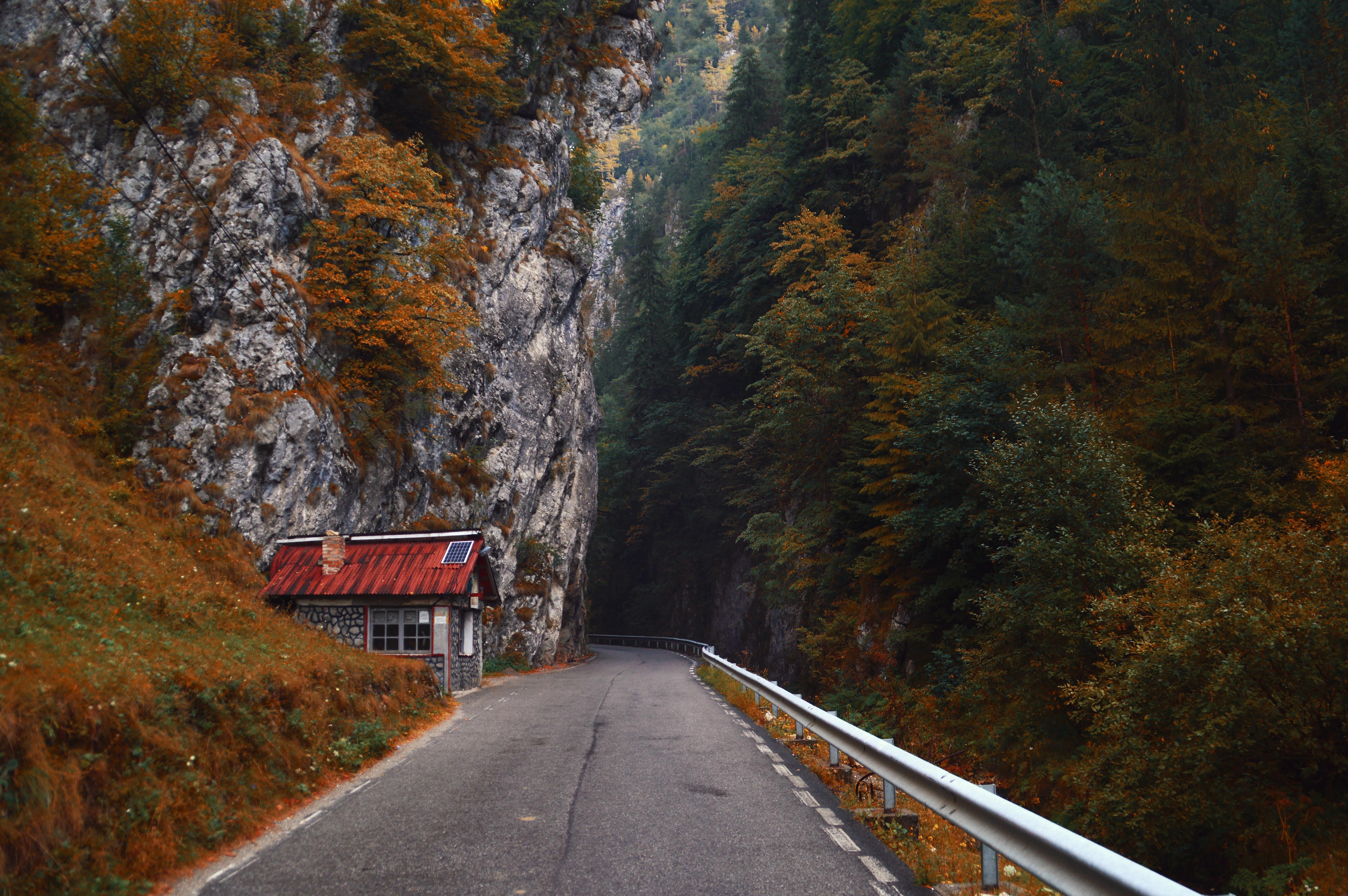 gray asphalt road in between rock mountains
