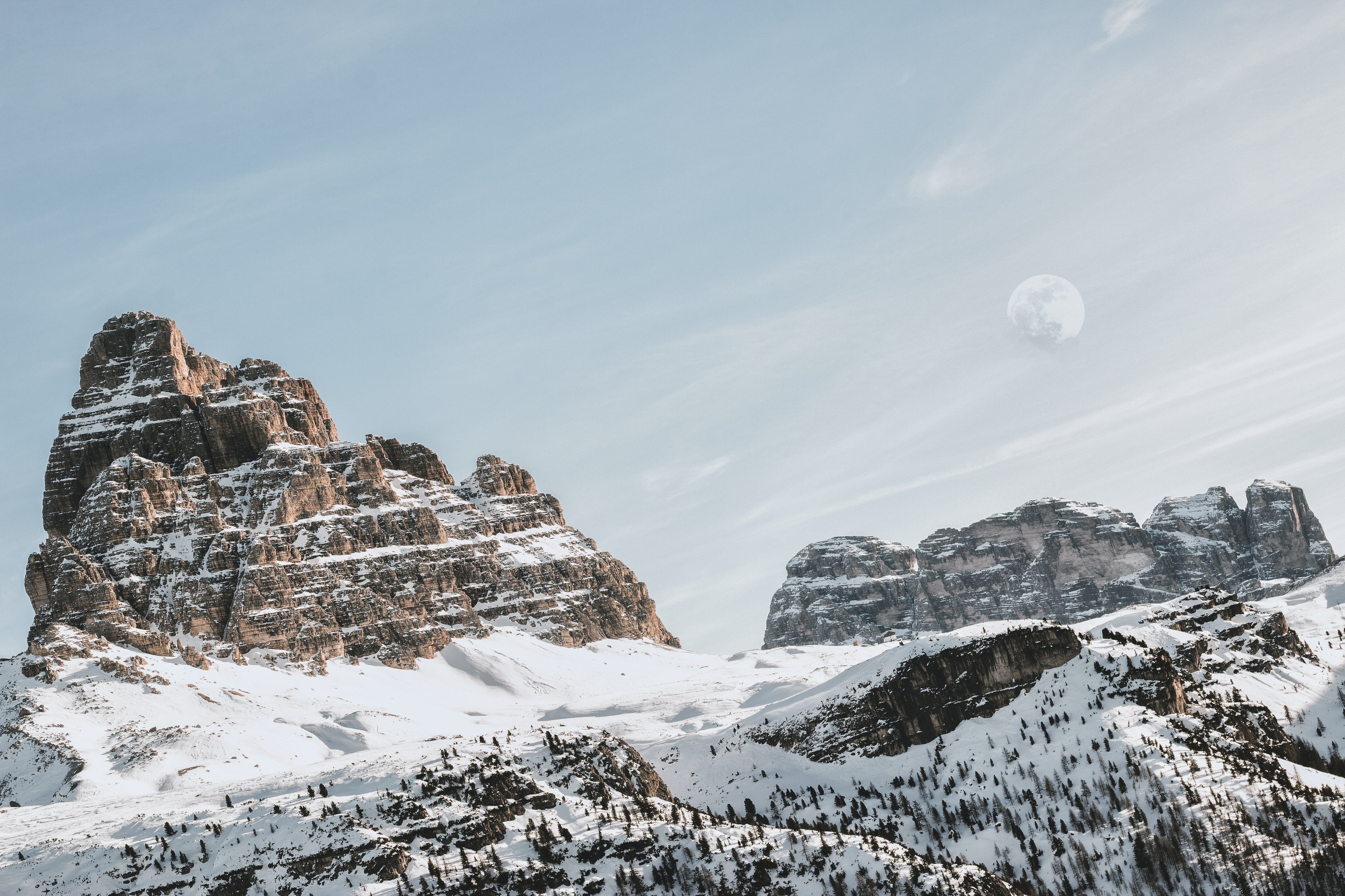 landscape of mountain with snow