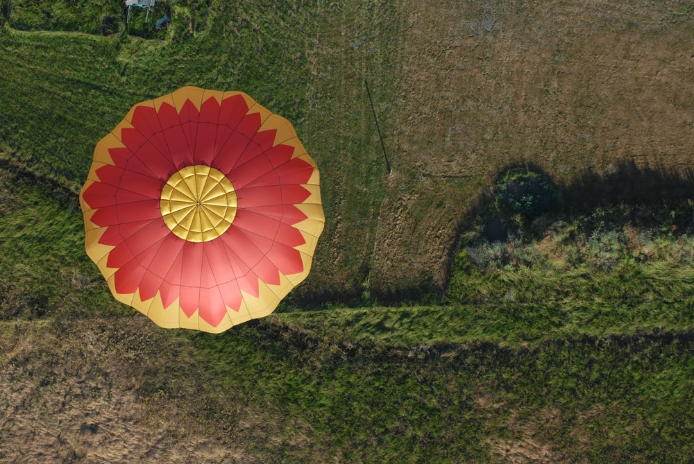 aerial photo of hot air balloon flying in the air