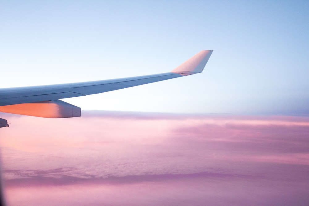 aerial view of airplane wing