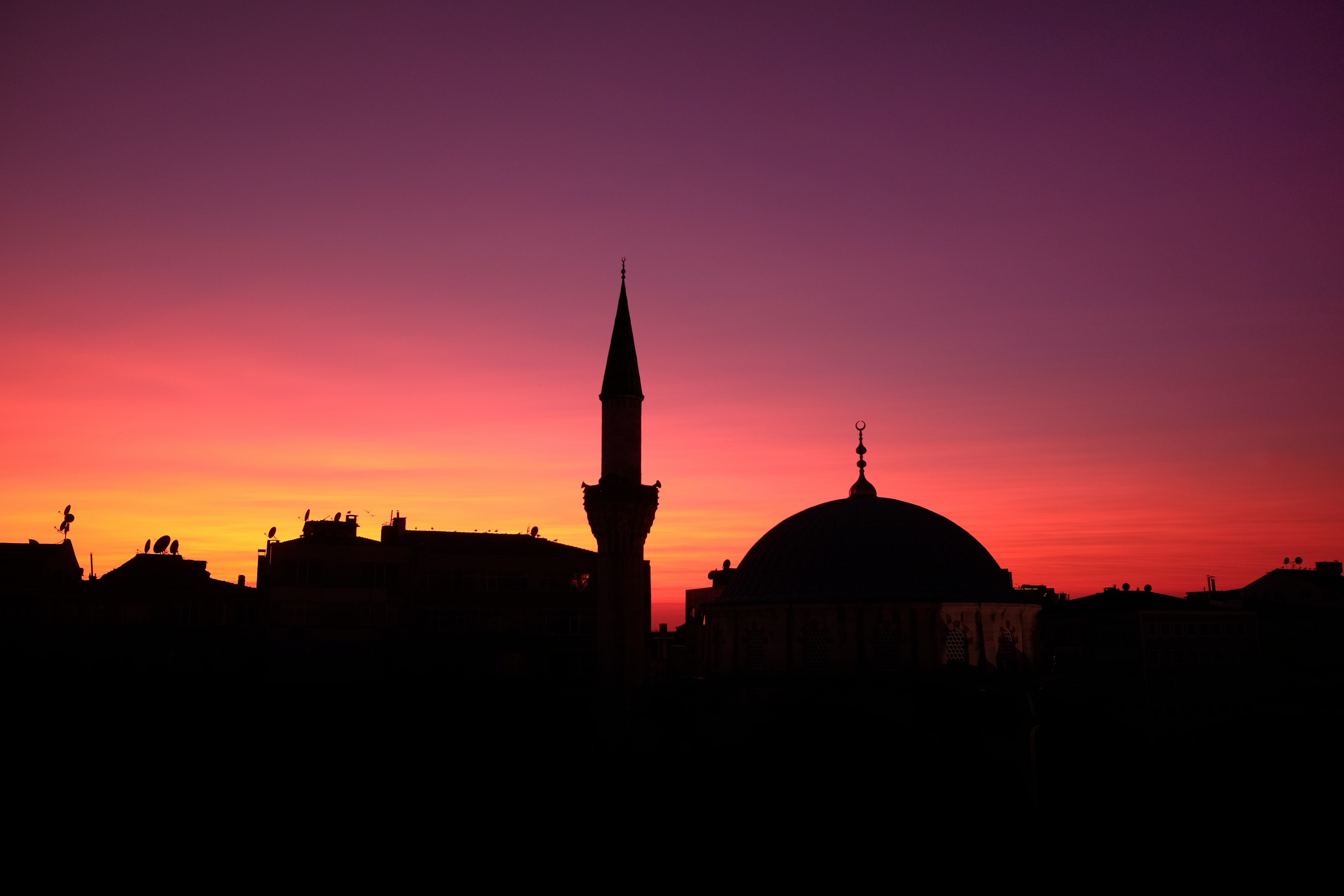 silhouette of town buildings