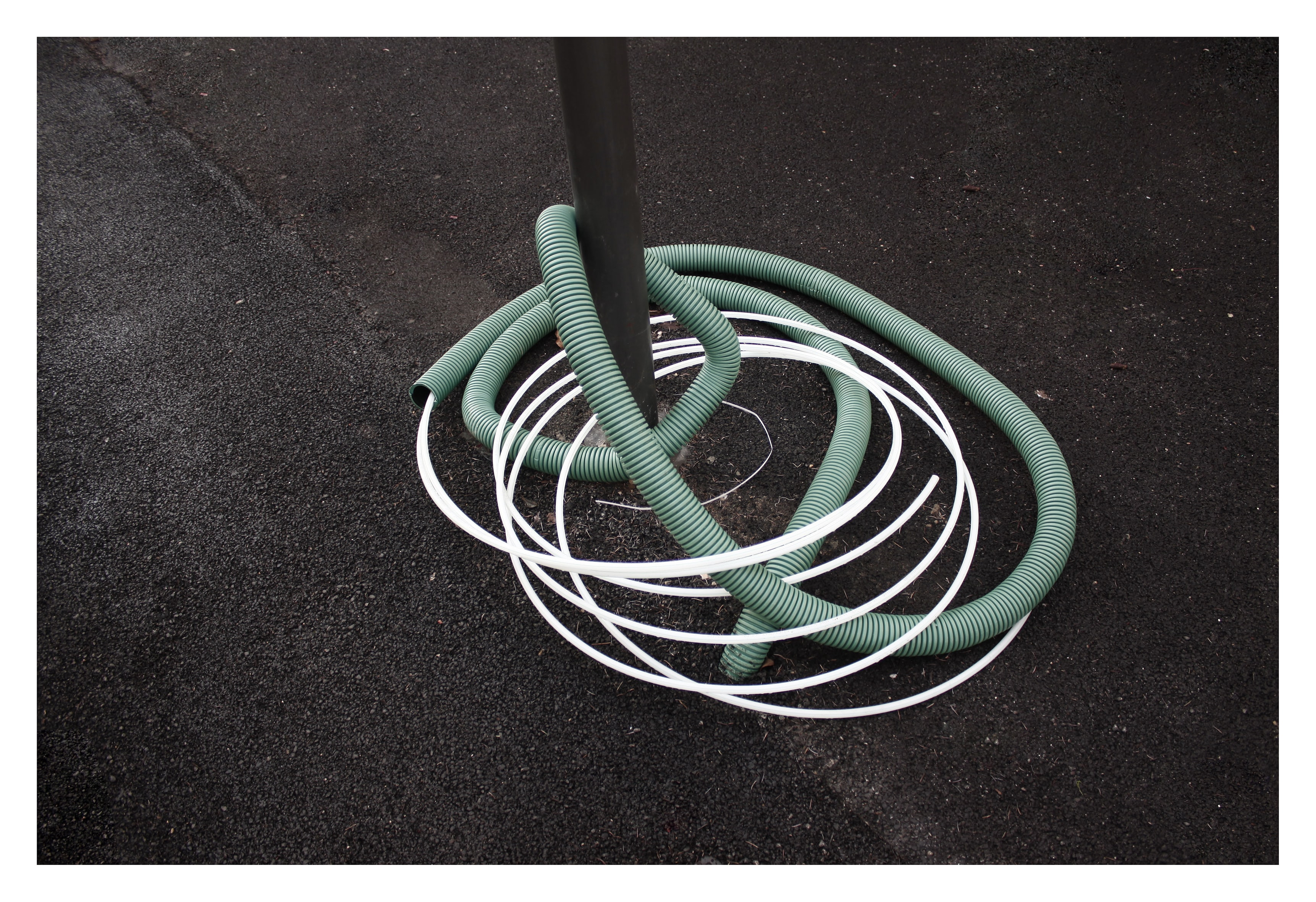 green and white coated cables
