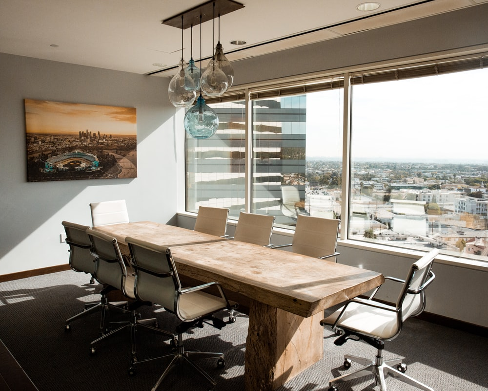 beige wooden conference table