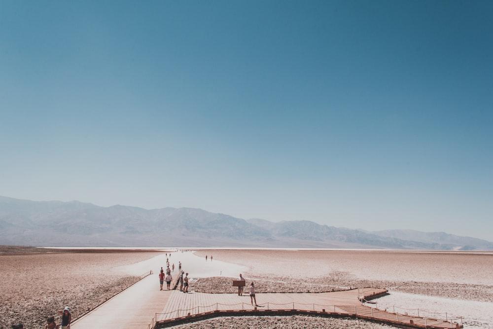 people walking on path towards mountains