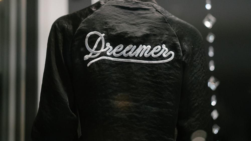 black Dreamer-printed jacket