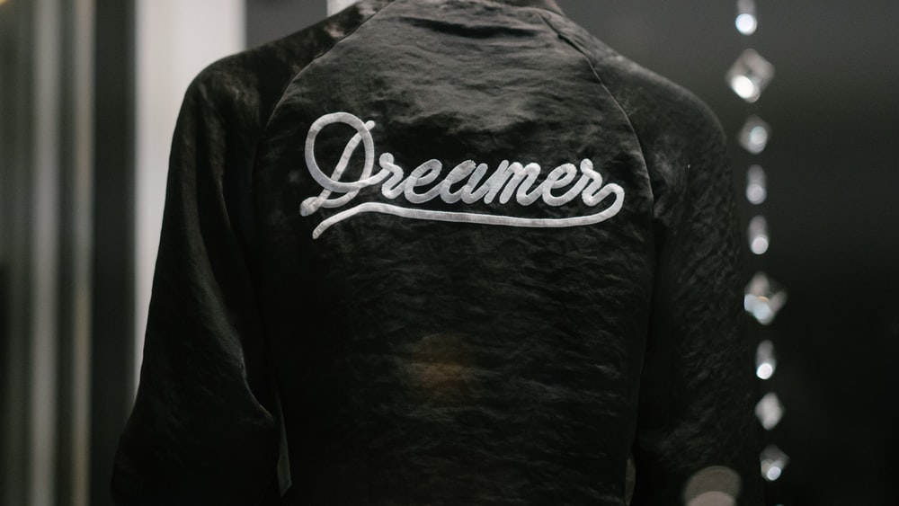 black Dreamer-printed jacket