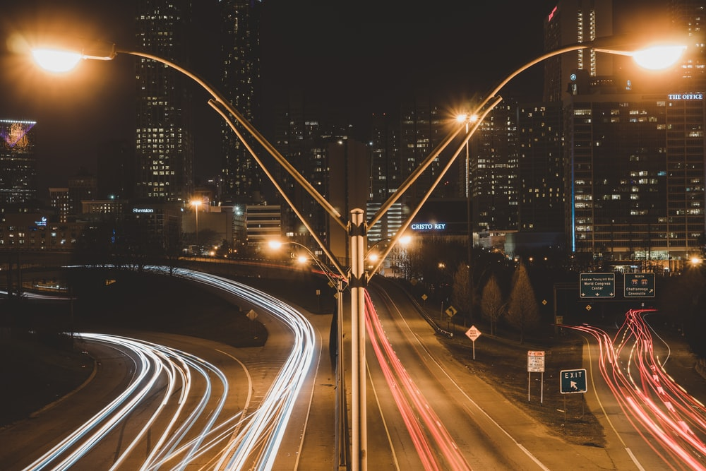time lapse road during night time