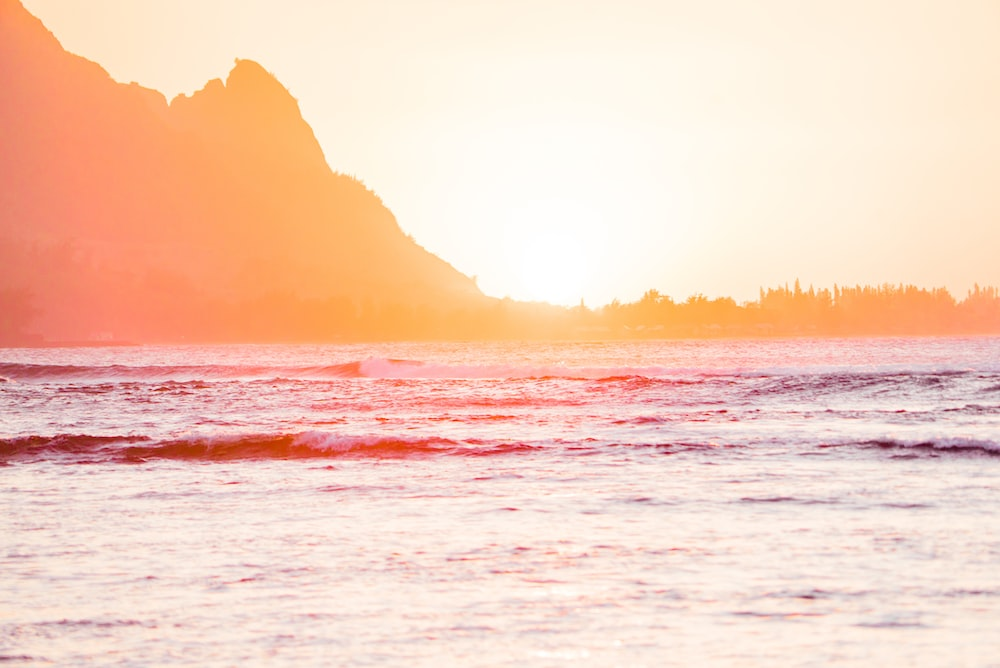 photograph of sea during golden hour