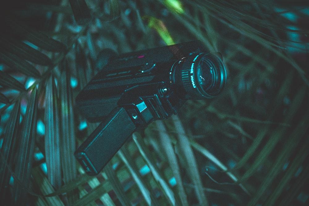 black handycam on green leaf