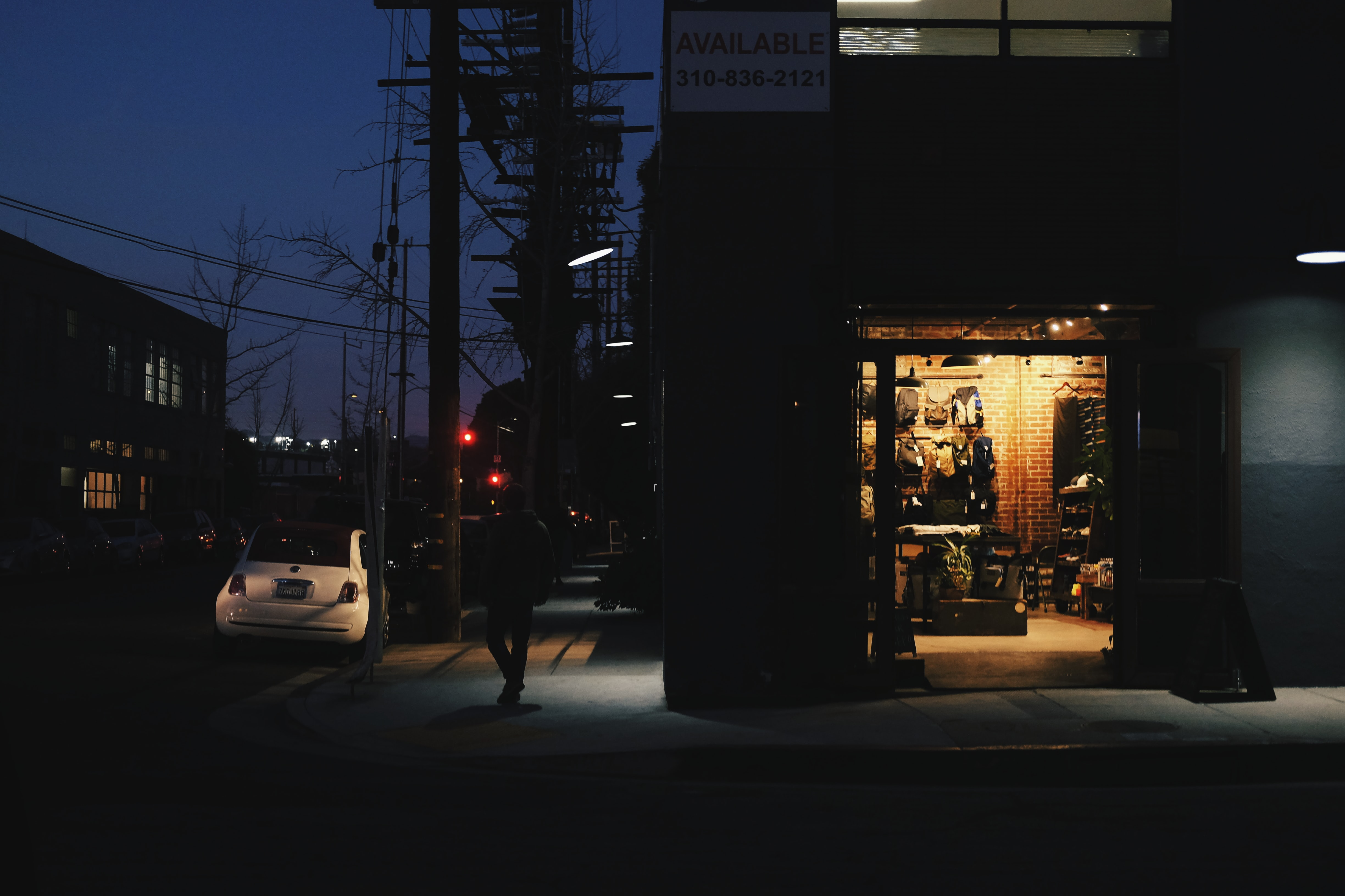 storefront by the street at night