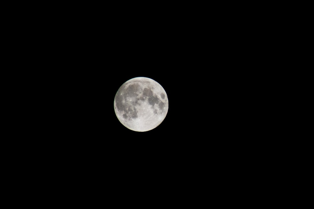 white full moon during night time