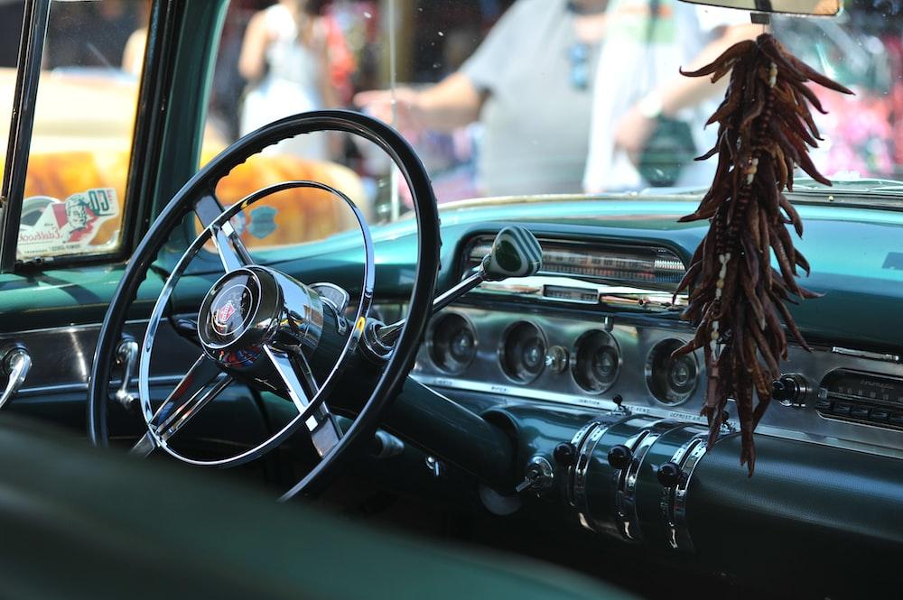 closeup photo of black car dashboard