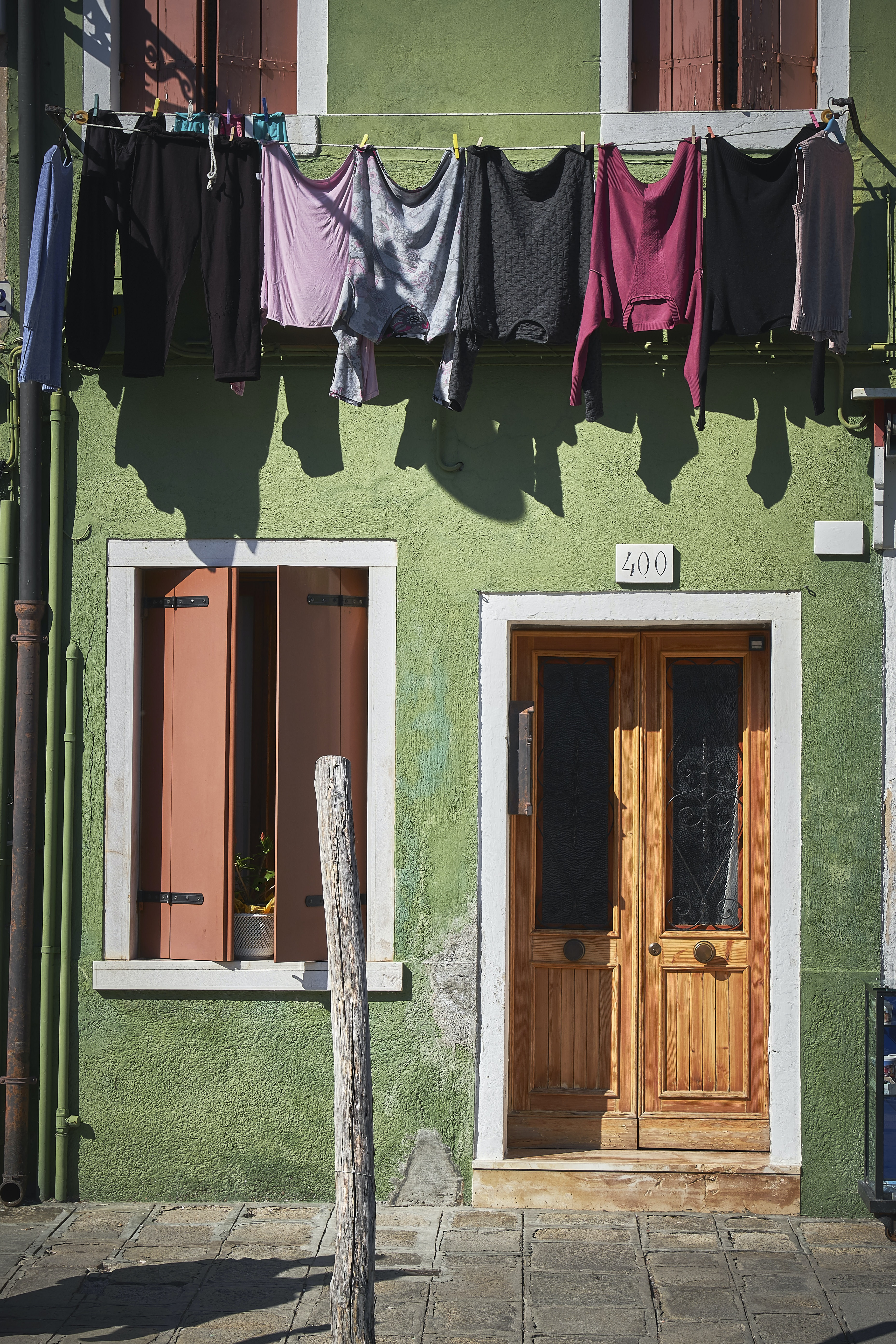 assorted-color clothes hanging on green house