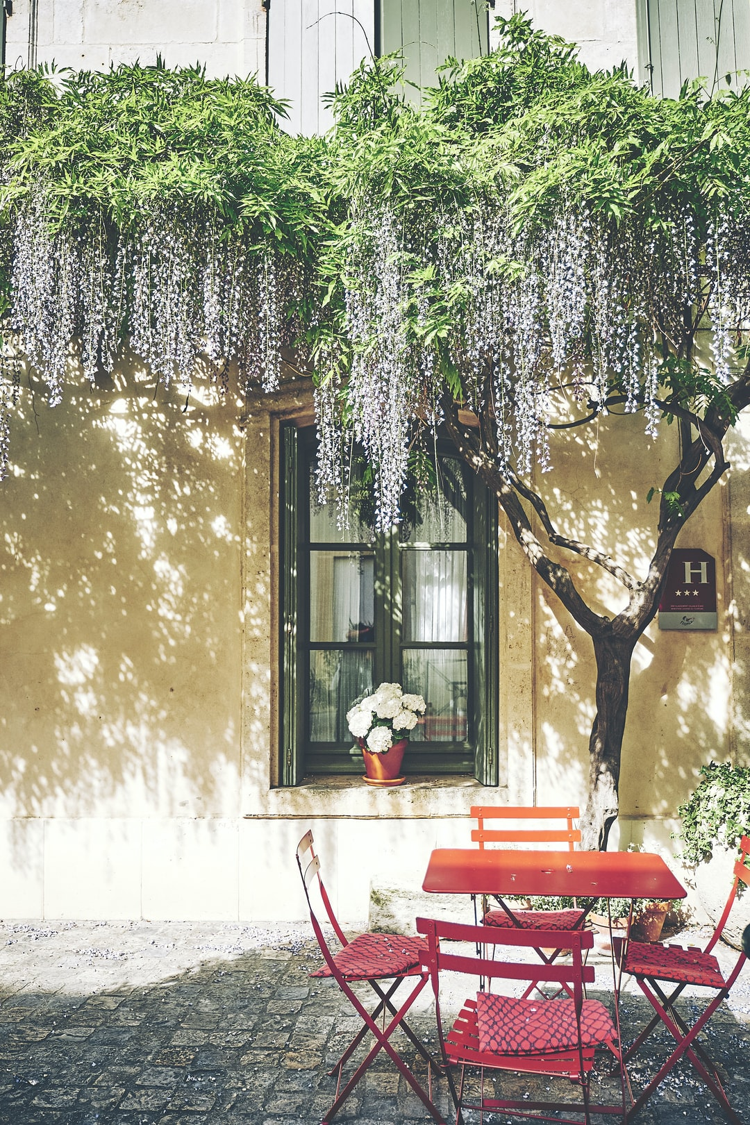 This tiny terrace of an hotel of Aigues Mortes in Camargue is an invite to have a seat an rest enjoying the cool breeze under the shades of a flowered tree.