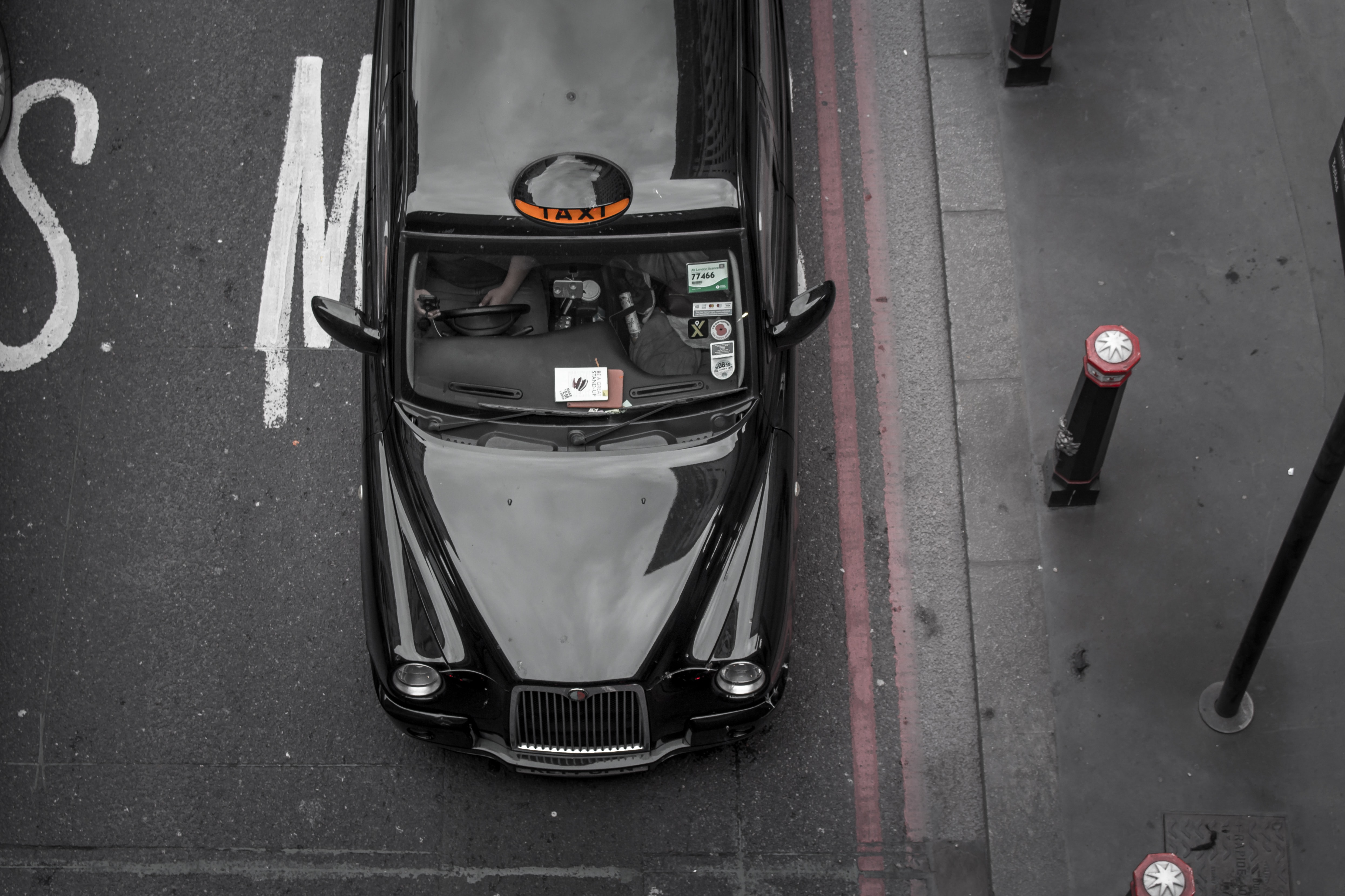 top view of car parked beside the pole