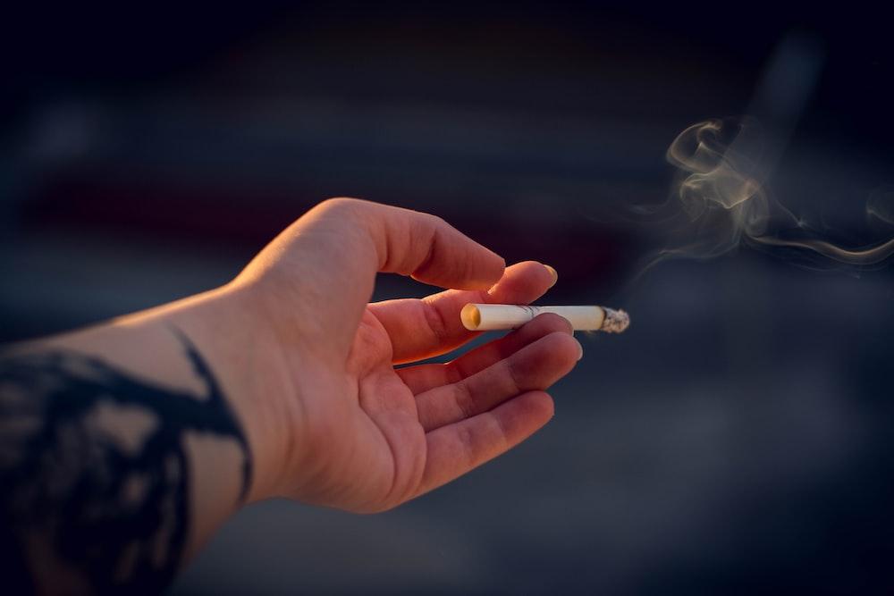 person holding white cigarette stick