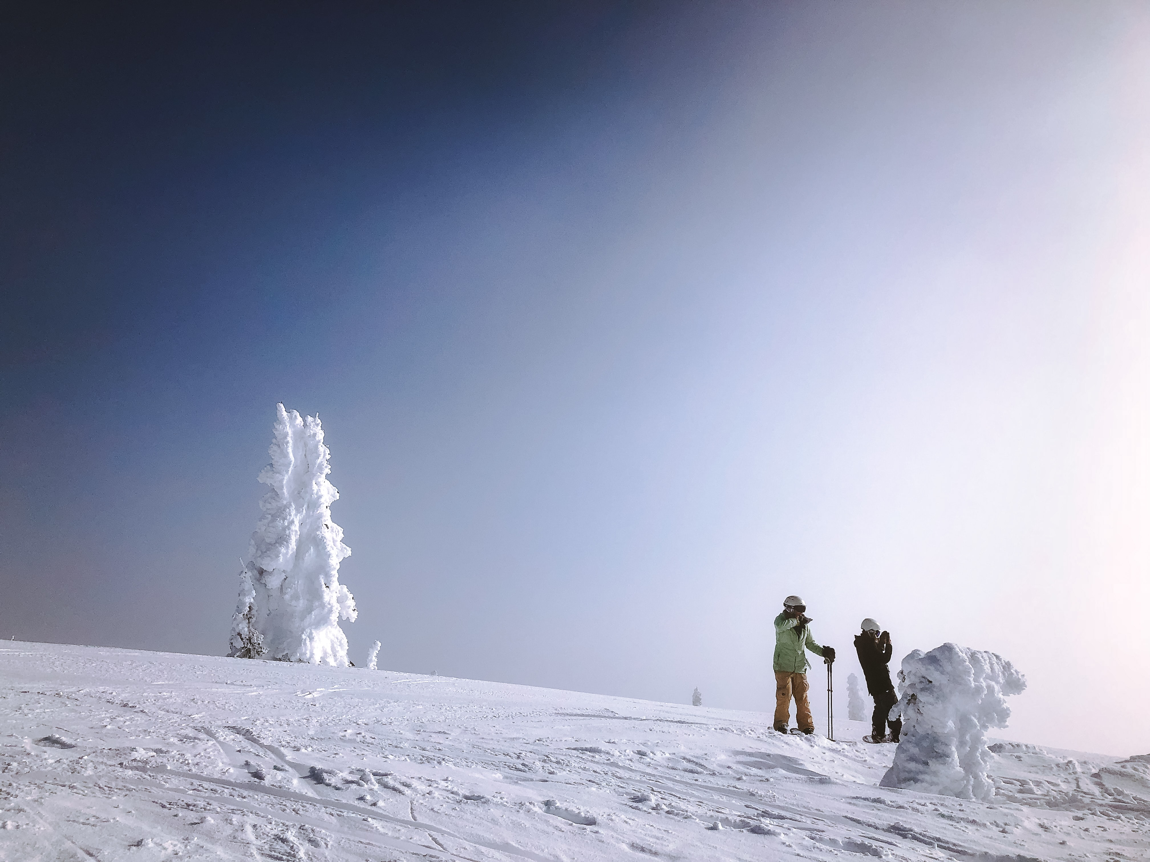 two people standing on mountain covered with snow