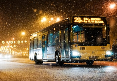 Late Bus in Cluj Napoca, Romania, under heavy snow