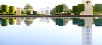 white concrete structure and trees reflected on water during daytime