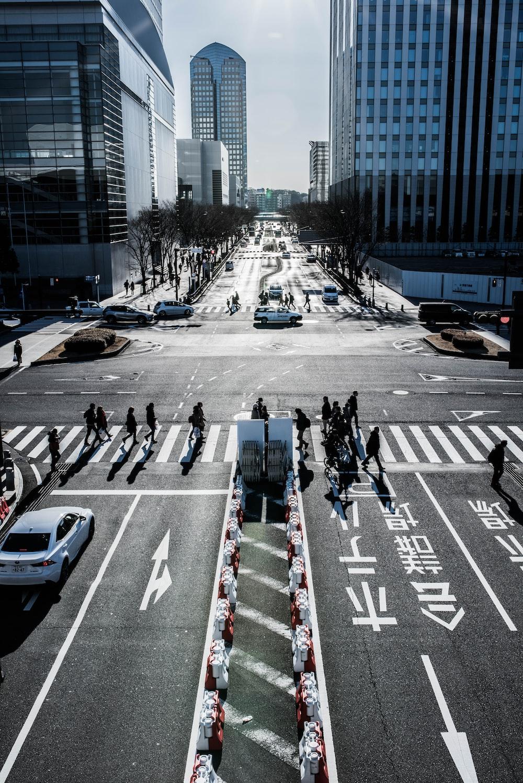 people on pedestrian lane