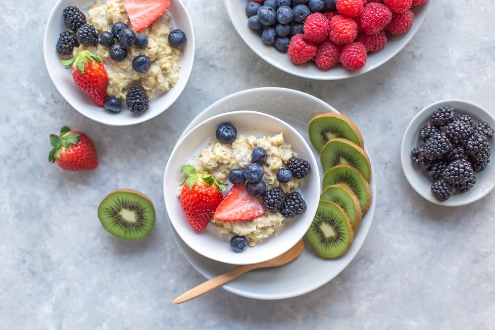 assorted fruits in bowls