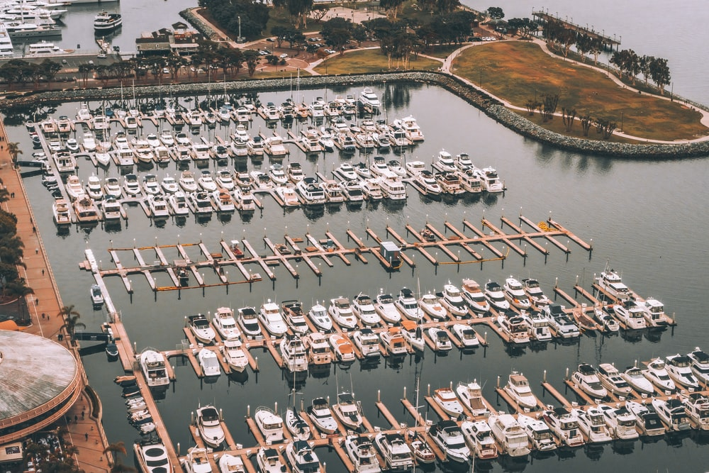 aerial photography yacht lot on body of water
