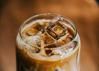 clear glass filled ice coffee