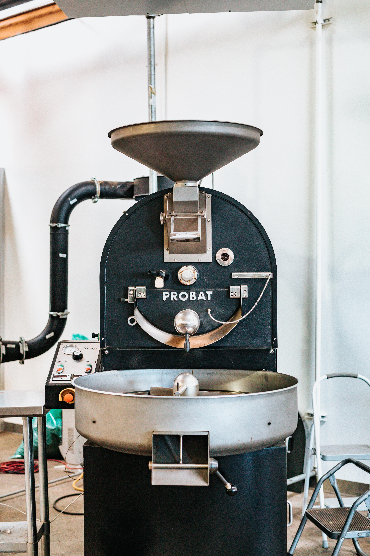 black and gray Probat industrial mixer