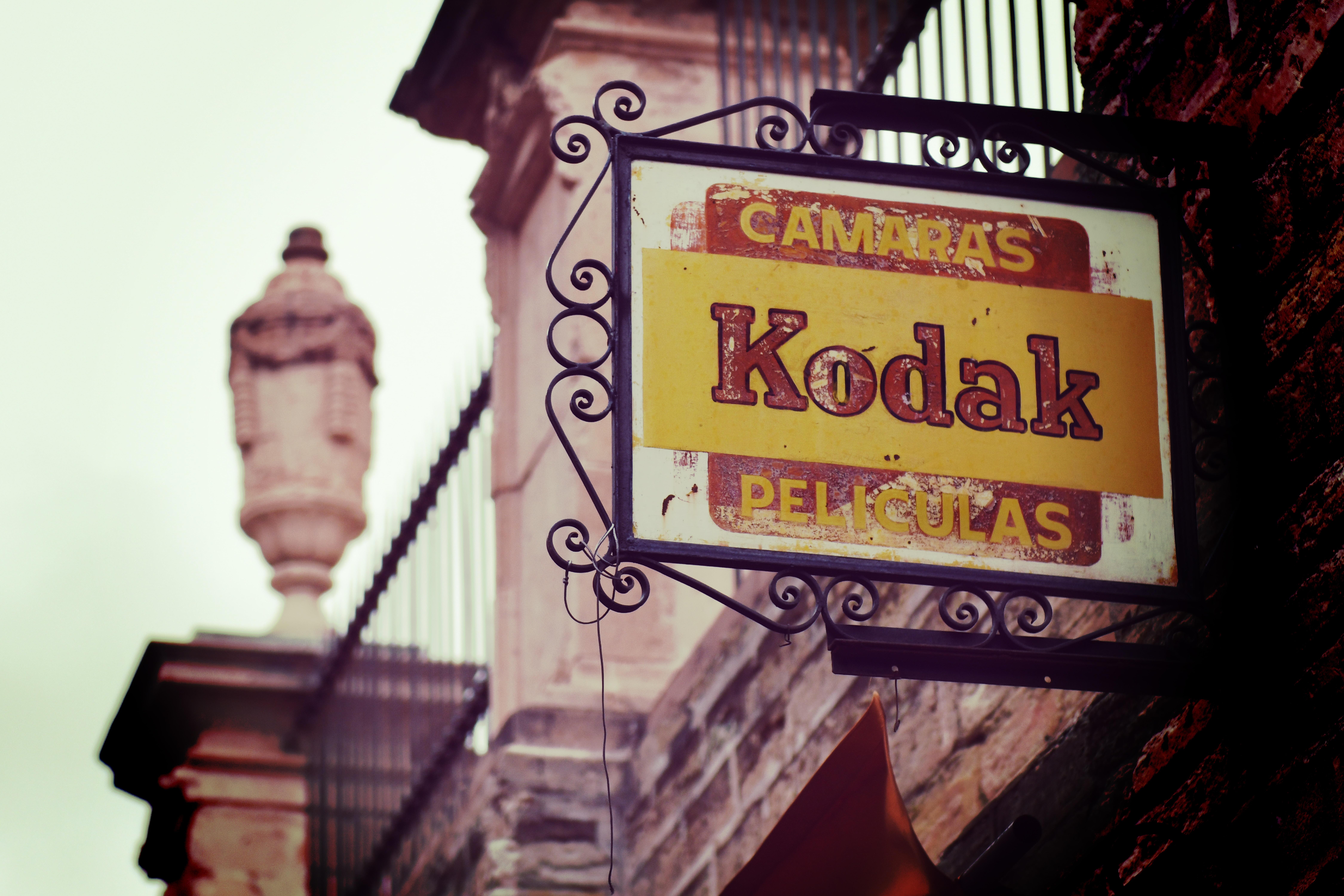closeup photo of Kodak sign