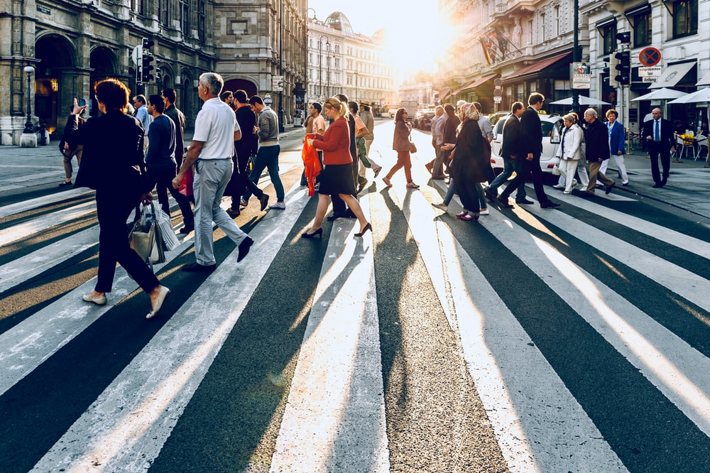 group of people walking on pedestrian lane