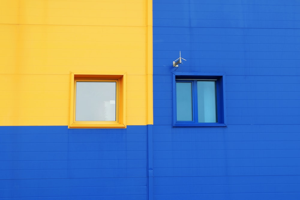 yellow and blue windowpanes