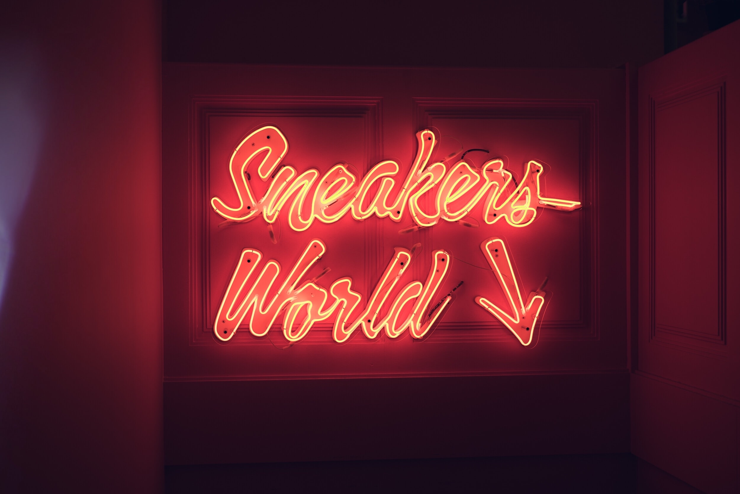 sneakers world neon light signage