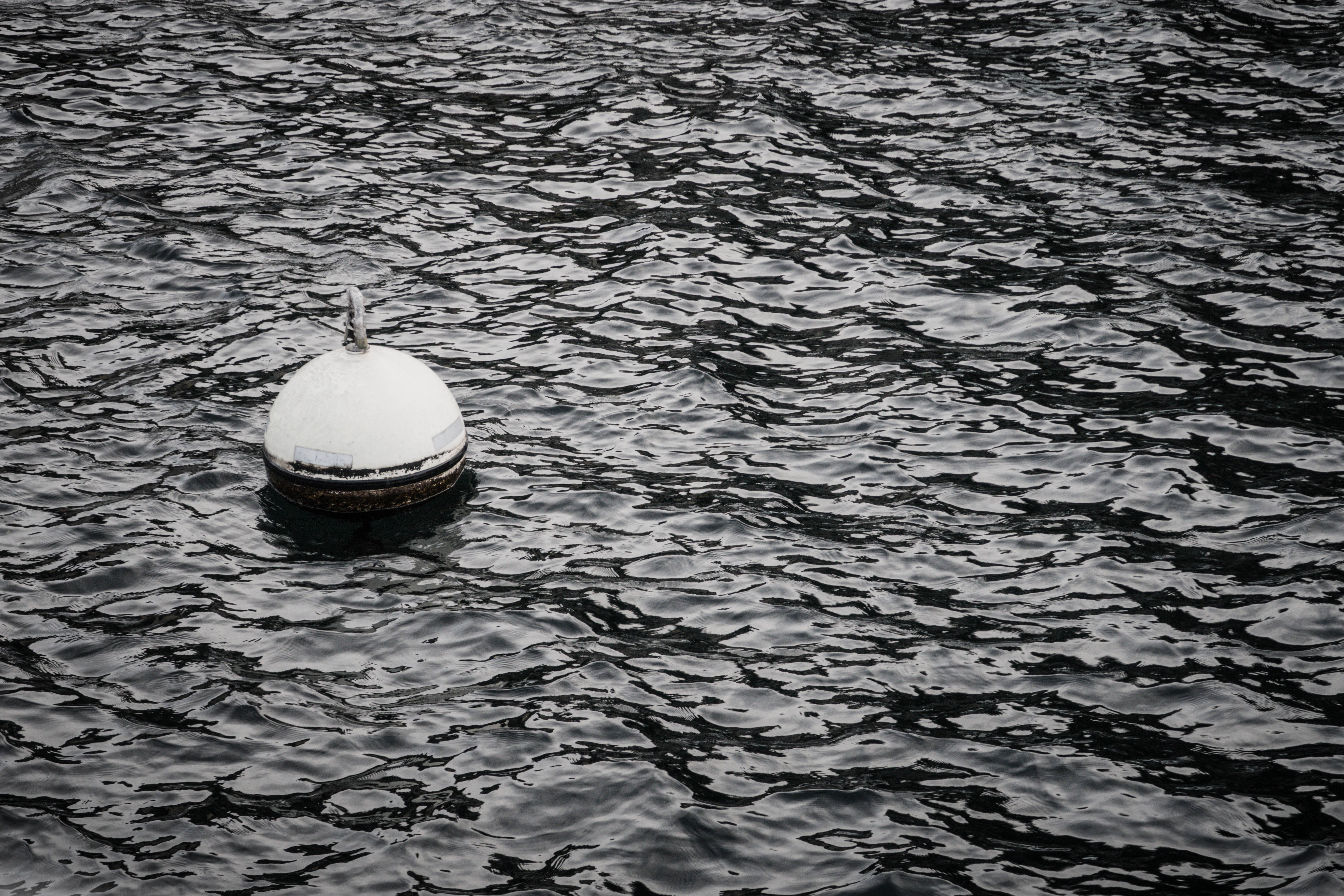 greyscale photo of bouy floating on body of water