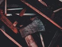 axe on wooden table