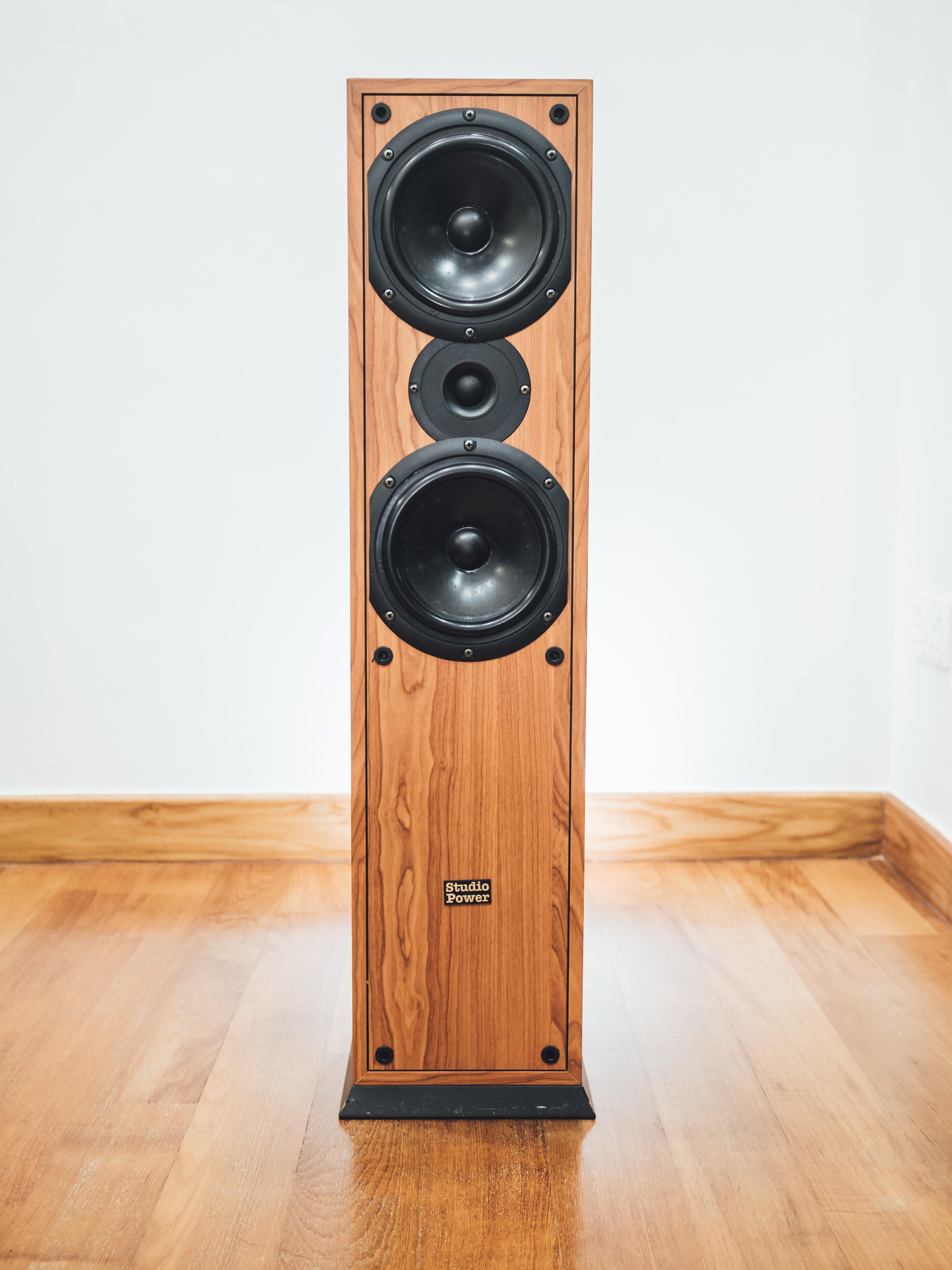 brown and black speaker indoor