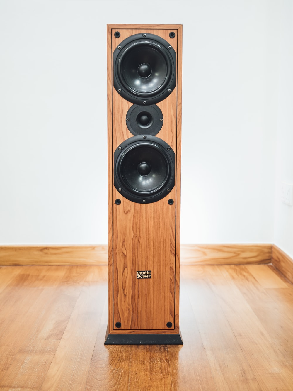 brown and black speaker indoor